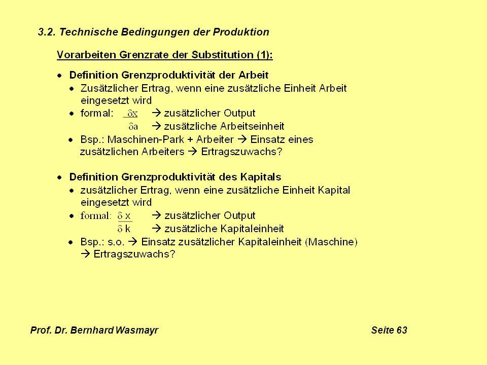 Prof. Dr. Bernhard Wasmayr Seite 63 3.2. Technische Bedingungen der Produktion
