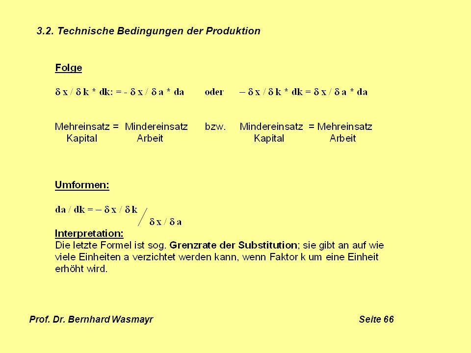 Prof. Dr. Bernhard Wasmayr Seite 66 3.2. Technische Bedingungen der Produktion