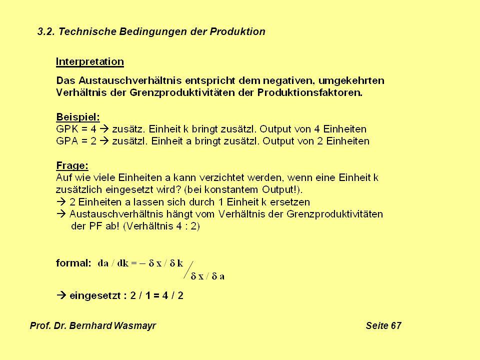 Prof. Dr. Bernhard Wasmayr Seite 67 3.2. Technische Bedingungen der Produktion
