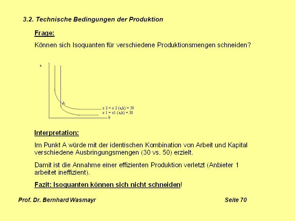 Prof. Dr. Bernhard Wasmayr Seite 70 3.2. Technische Bedingungen der Produktion