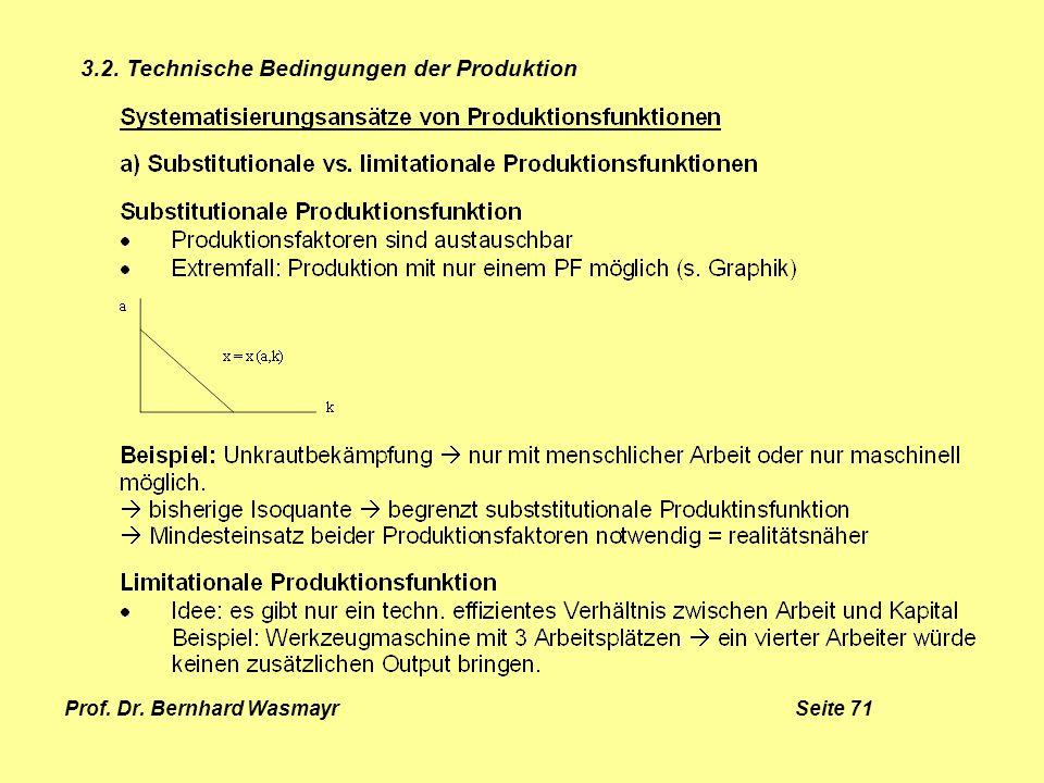 Prof. Dr. Bernhard Wasmayr Seite 71 3.2. Technische Bedingungen der Produktion