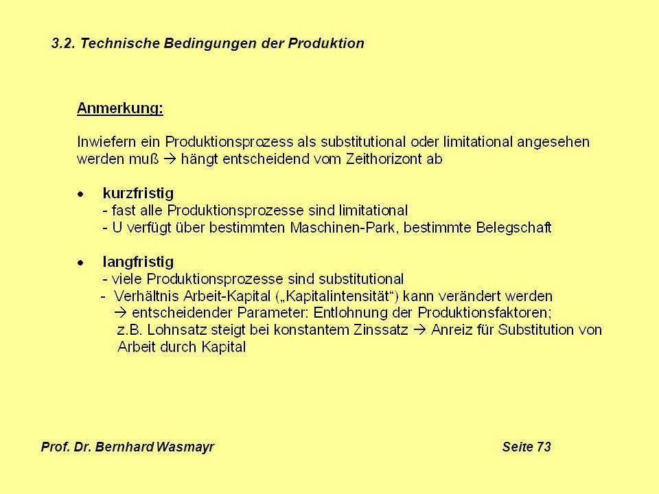Prof. Dr. Bernhard Wasmayr Seite 73 3.2. Technische Bedingungen der Produktion