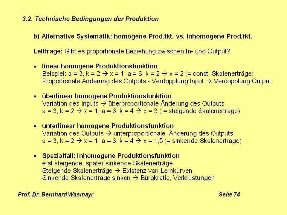 Prof. Dr. Bernhard Wasmayr Seite 74 3.2. Technische Bedingungen der Produktion