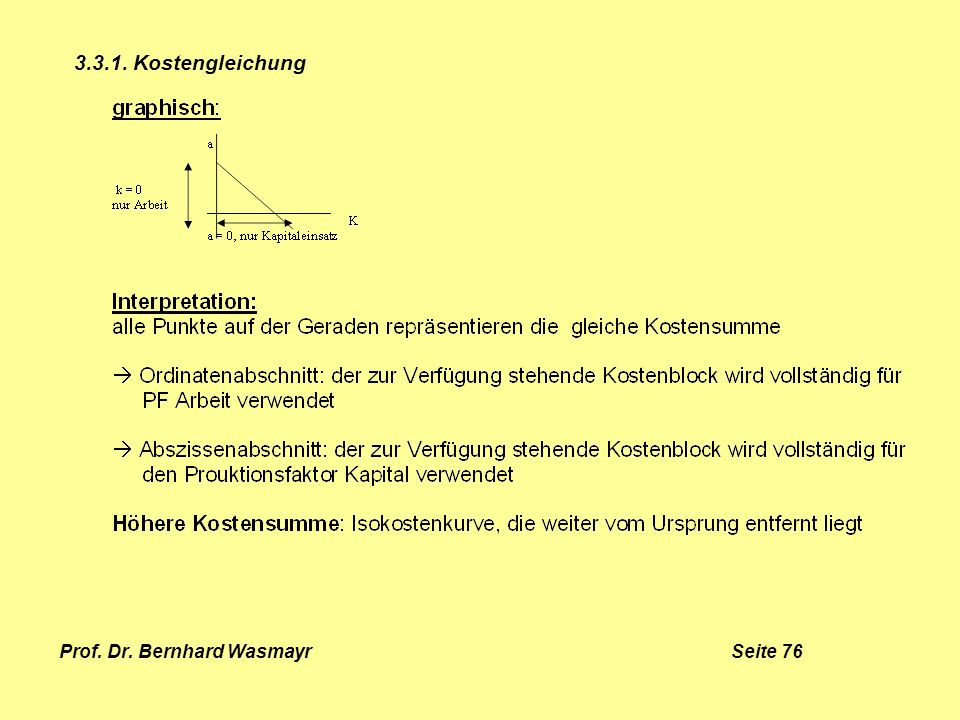 Prof. Dr. Bernhard Wasmayr Seite 76 3.3.1. Kostengleichung