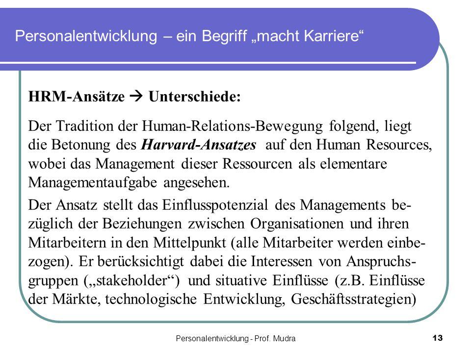 Personalentwicklung - Prof. Mudra13 Personalentwicklung – ein Begriff macht Karriere HRM-Ansätze Unterschiede: Der Tradition der Human-Relations-Beweg