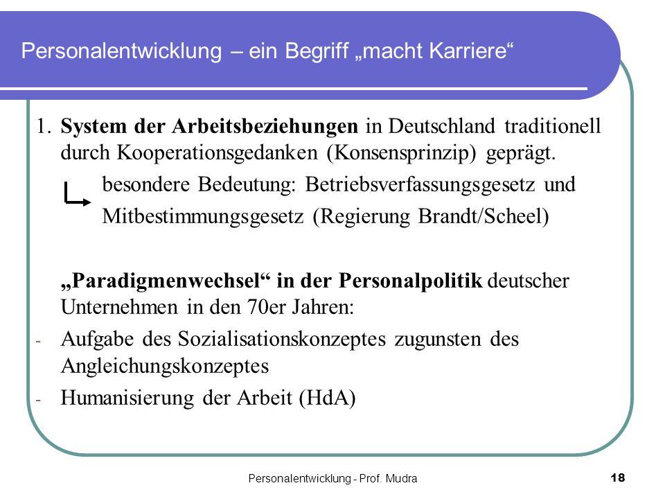 Personalentwicklung - Prof. Mudra18 Personalentwicklung – ein Begriff macht Karriere 1.System der Arbeitsbeziehungen in Deutschland traditionell durch