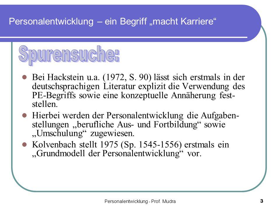Personalentwicklung - Prof. Mudra3 Personalentwicklung – ein Begriff macht Karriere Bei Hackstein u.a. (1972, S. 90) lässt sich erstmals in der deutsc