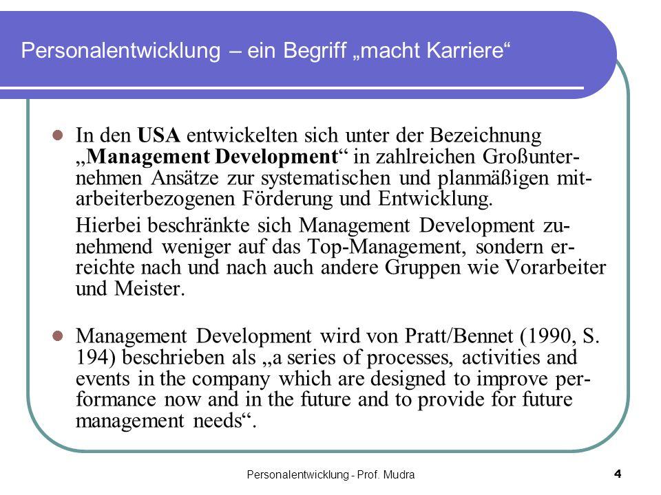 Personalentwicklung - Prof. Mudra4 Personalentwicklung – ein Begriff macht Karriere In den USA entwickelten sich unter der BezeichnungManagement Devel