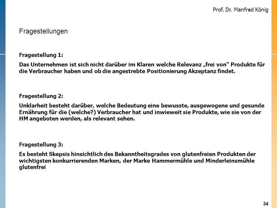 34 Prof. Dr. Manfred König Problemstellung Fragestellung 1: Das Unternehmen ist sich nicht darüber im Klaren welche Relevanz frei von Produkte für die