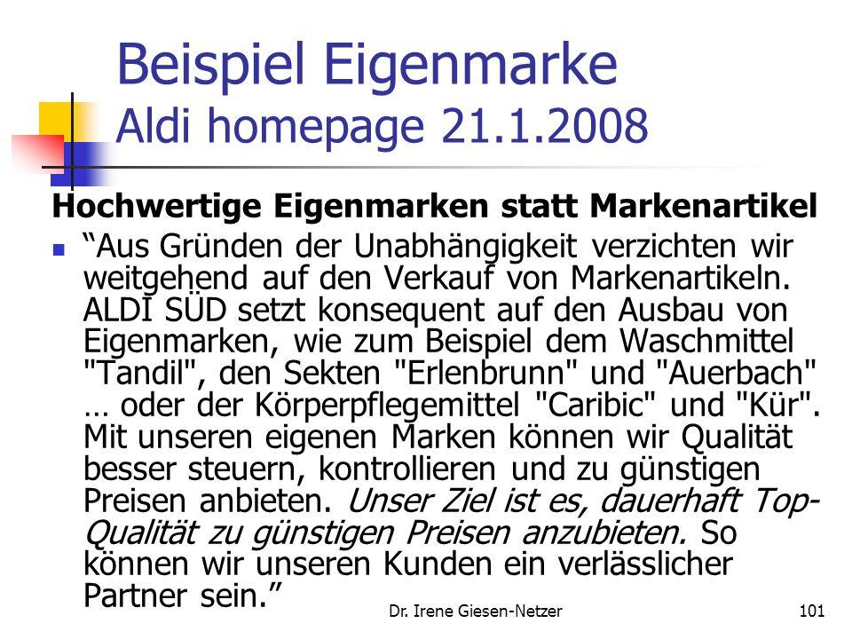 Dr. Irene Giesen-Netzer100 Handelsmarken Eigenmarken Bsp. Aldi ombia Caribic Almare Armada Aqua