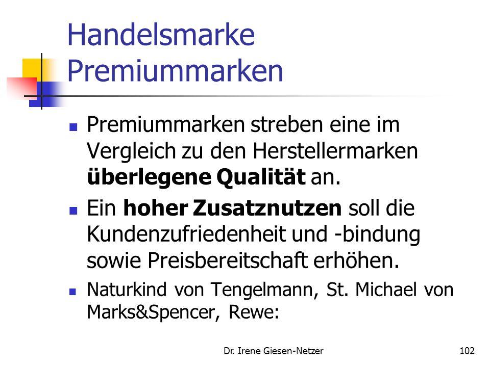 Dr. Irene Giesen-Netzer101 Beispiel Eigenmarke Aldi homepage 21.1.2008 Hochwertige Eigenmarken statt Markenartikel Aus Gründen der Unabhängigkeit verz