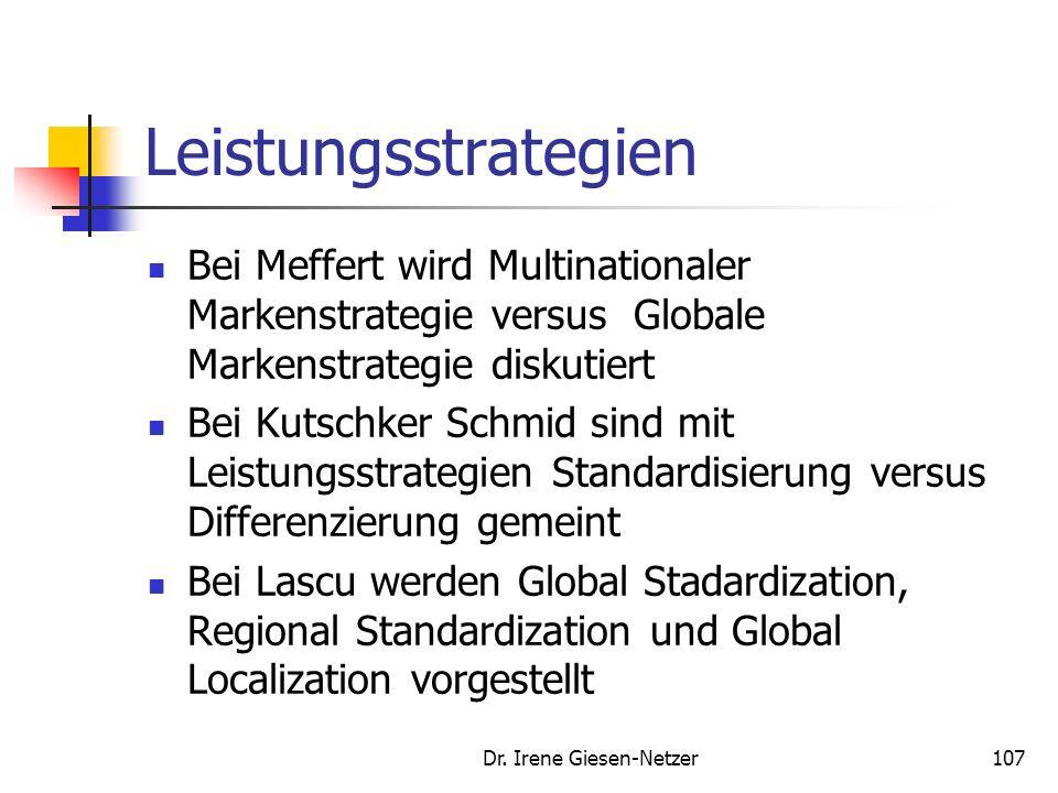 Dr. Irene Giesen-Netzer106 Beurteilungskriterien zur Wahl von Markenstrategien Interne Kriterien: Risikoausgleich Synergienutzung Kosten/ Marktinvesti