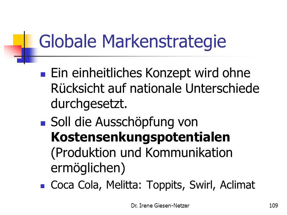 Dr. Irene Giesen-Netzer108 Multinationale Markenstrategie Bei der multinationalen Markenstrategie sind die Unternehmen mit individuellen Konzepten in