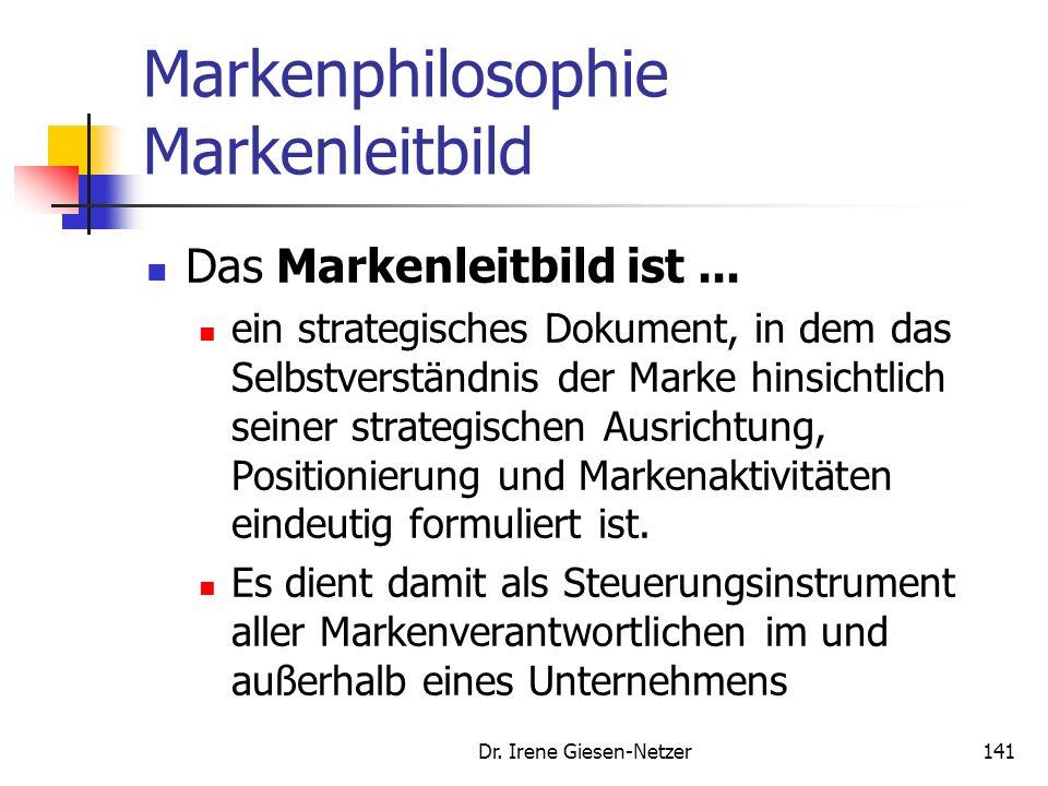 Dr. Irene Giesen-Netzer140 Markenphilosophie Markenleitbild Die Markenphilosophie beinhaltet die bewusste Entscheidung für eine Markenorientierung und