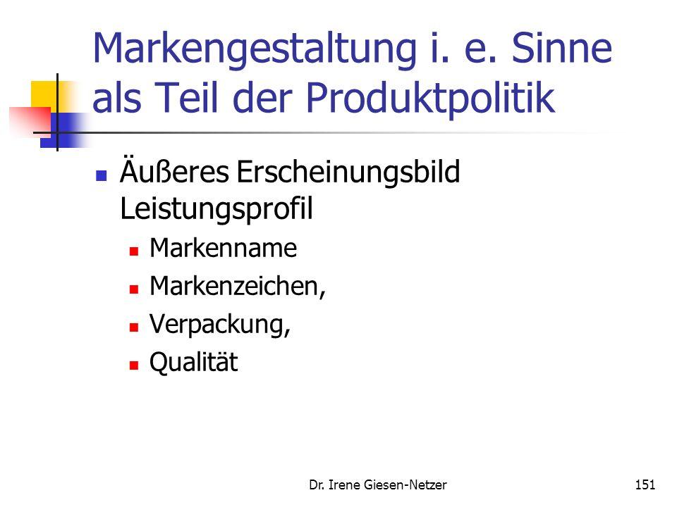 150 Markengestaltung i.w. Sinne Markengestaltung: Mix aus konstanten und zu verändernden Marken- Komponenten Markenhistorie, Markenphilosophie, Marken