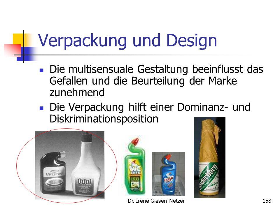 Dr. Irene Giesen-Netzer157 Bedeutung der Verpackung und des Design (Bsp. Handymarkt) Design beeinflusst mit 25-34% aller Fälle die Kaufent- scheidung