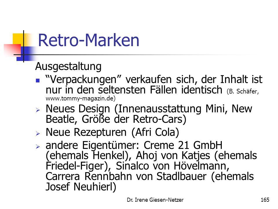 Dr. Irene Giesen-Netzer164 Retro-Marken Gründe für den Retro-Tend Positiv besetzte Erinnerungen (Erinnerungen werden käuflich). Retro- Perspektive ist