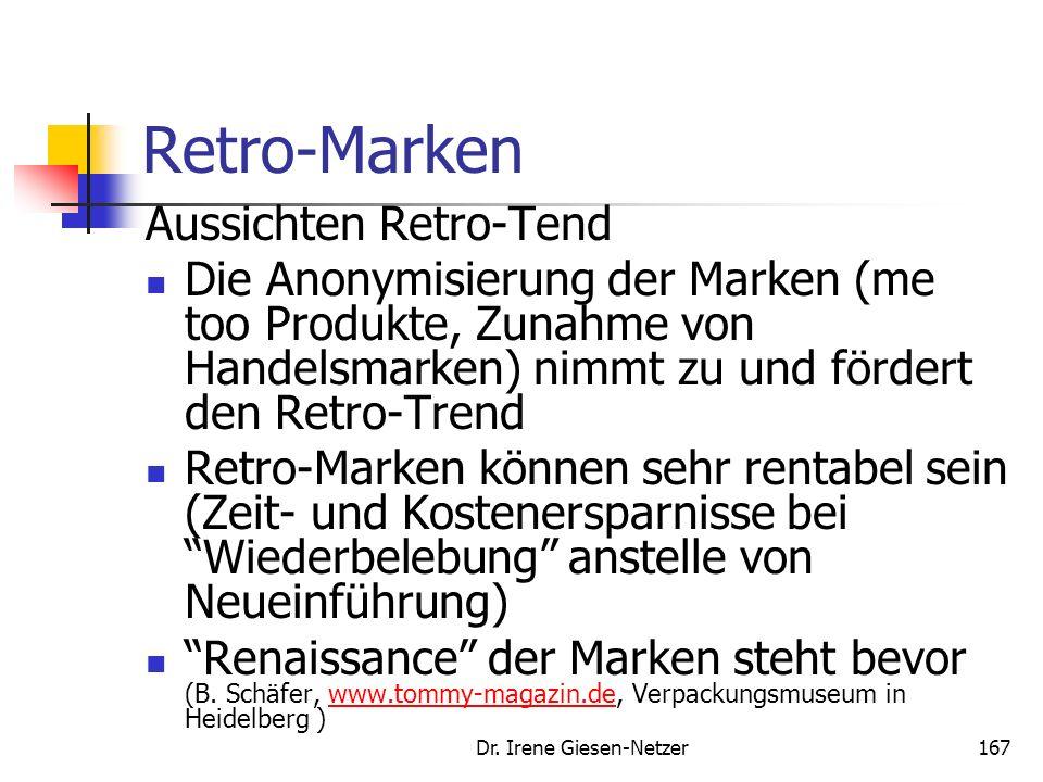Dr. Irene Giesen-Netzer166 Retro-Marken Gefahren beim Retro-Trend Retro-Trap insbesondere bei Automobilen ein Problem. Die Erinnerung und Erwartung we