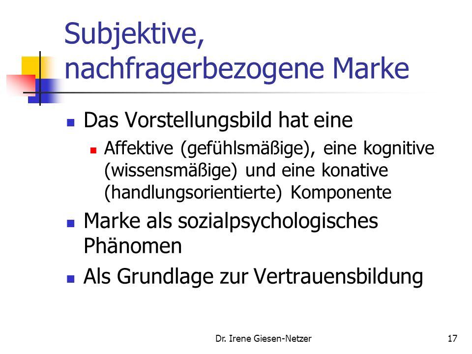Dr. Irene Giesen-Netzer16 Subjektive, nachfragerbezogene Marke Die Leistung / das Produkt wird dabei in einem groβen Absatzraum über einen längeren Ze
