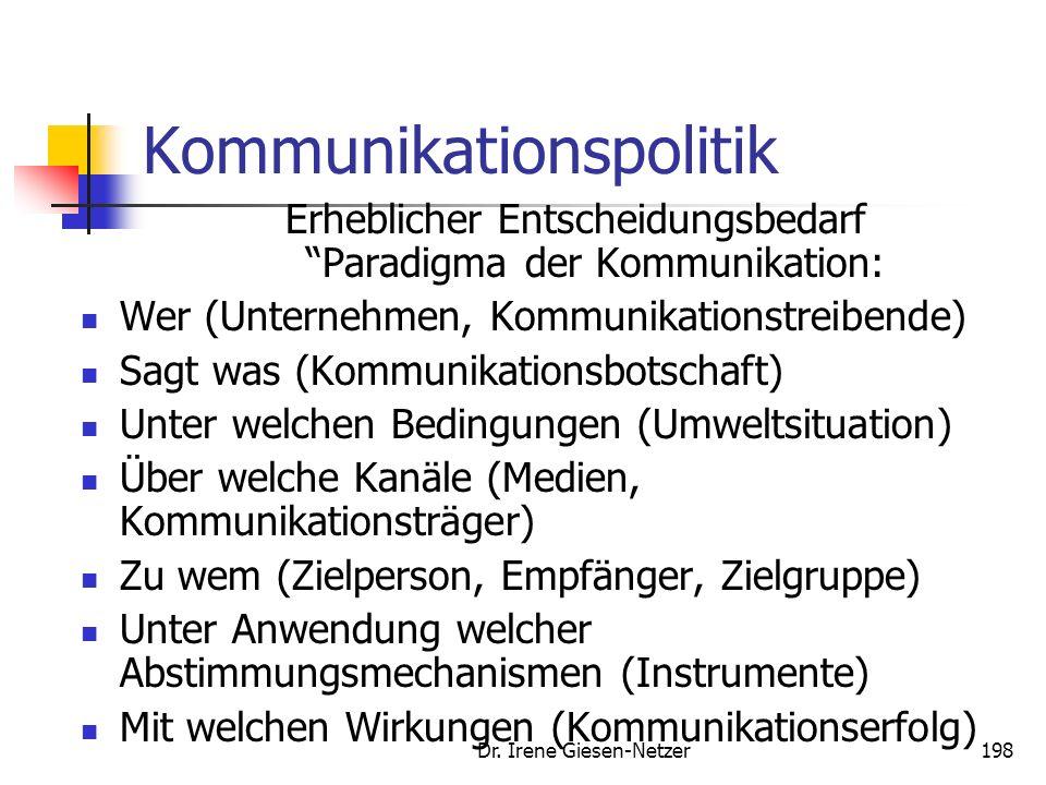 Dr. Irene Giesen-Netzer197 Kommunikationspolitik Kommunikationspolitik ist die bewuste, abgestimmte Gestaltung der Informationen einer Unternehmung zu