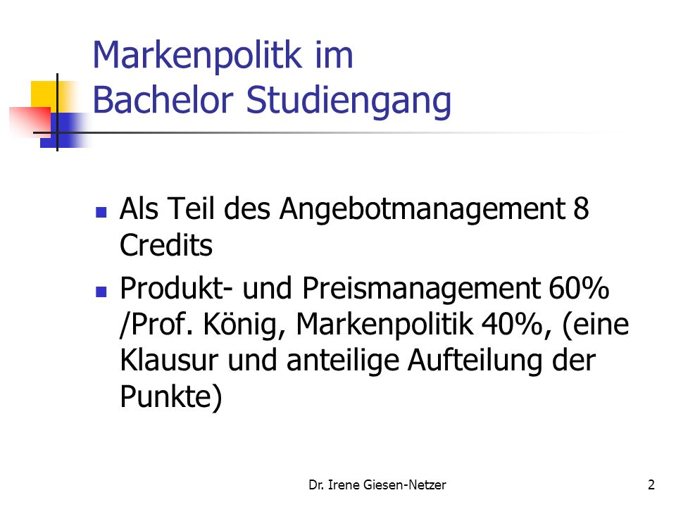 1 Internationales Marketing Management Markenpolitik - Brandmanagement Fachhochschule Ludwigshafen Dr.