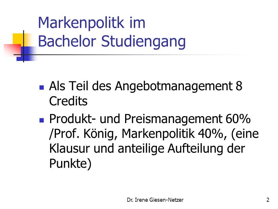 Dr.Irene Giesen-Netzer132 Markenpositionierungsmodell Vorgehensweise: 1.