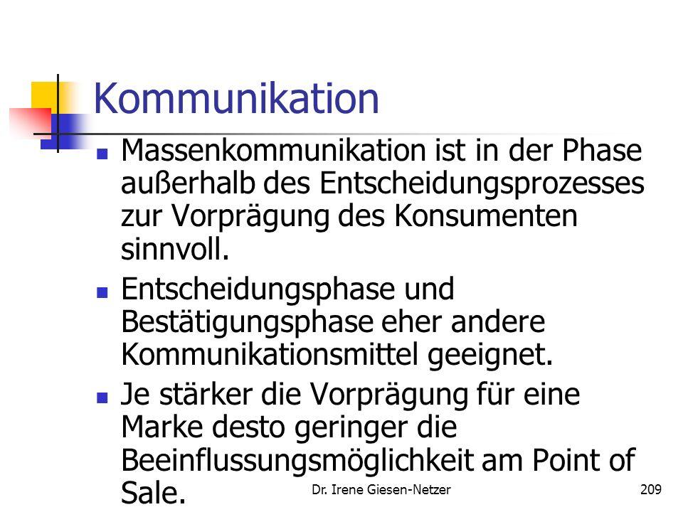 Dr. Irene Giesen-Netzer208 Kommunikation Einflussfaktor Involvement Quelle: Esch, F.-R.: Markenführung, S. 273
