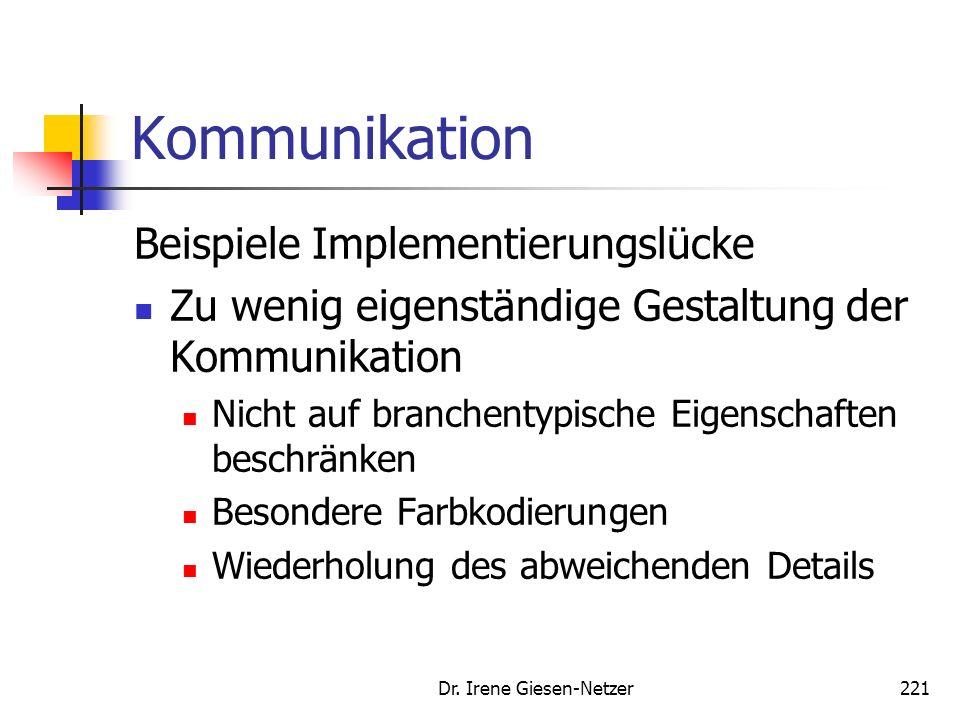 Dr. Irene Giesen-Netzer220 Kommunikation Beispiele Implementierungslücke Kontaktzeit der Werbung zu kurz Vermittle Positionierungseigenschaften der Ma