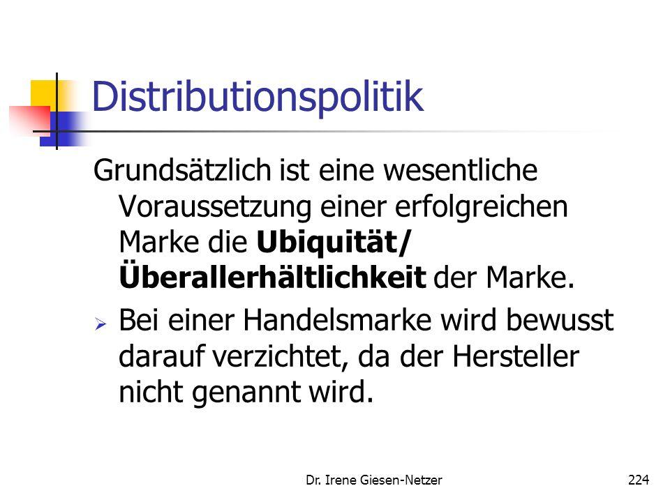 Dr. Irene Giesen-Netzer223 Distributionspolitik Die Distributionspolitik bezieht sich auf die Übermittlung der Produkte/ Leistungen vom Hersteller zum