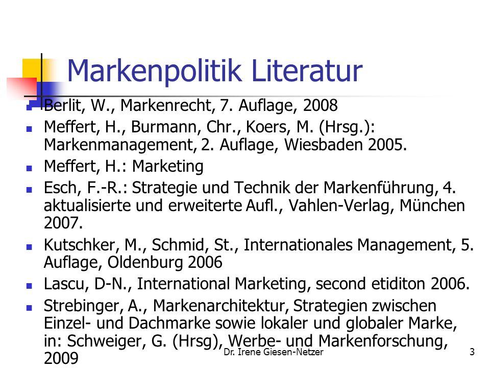 Dr. Irene Giesen-Netzer2 Markenpolitk im Bachelor Studiengang Als Teil des Angebotmanagement 8 Credits Produkt- und Preismanagement 60% /Prof. König,