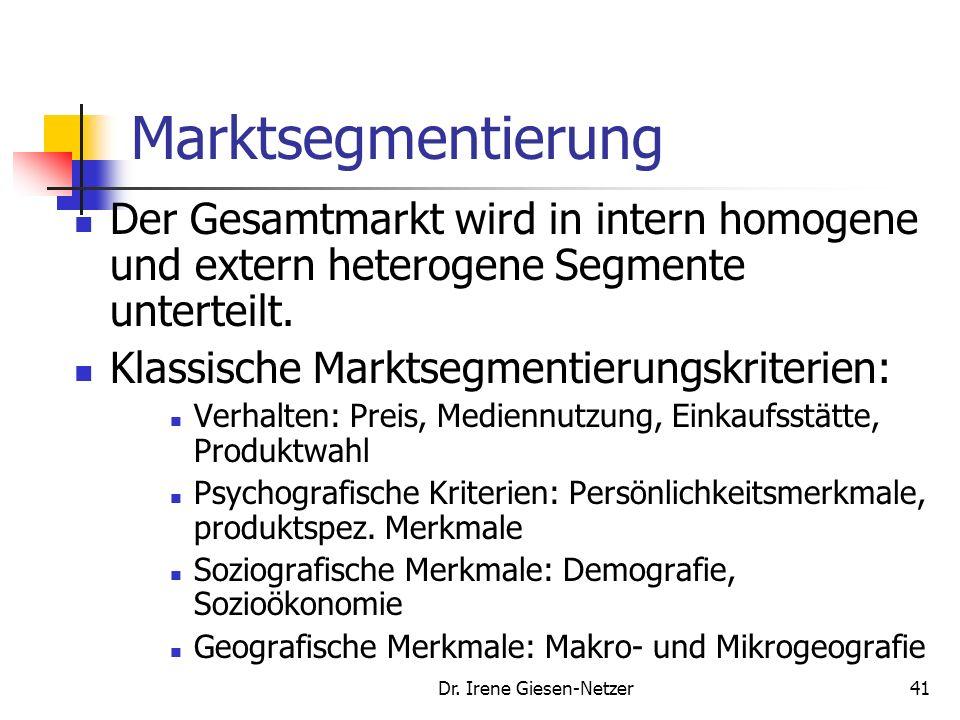Dr. Irene Giesen-Netzer40 Markenstrategie Voraussetzungen zur Markenstrategiefindung sind: Markesegementierung und Bildung strategischer Geschäftseinh