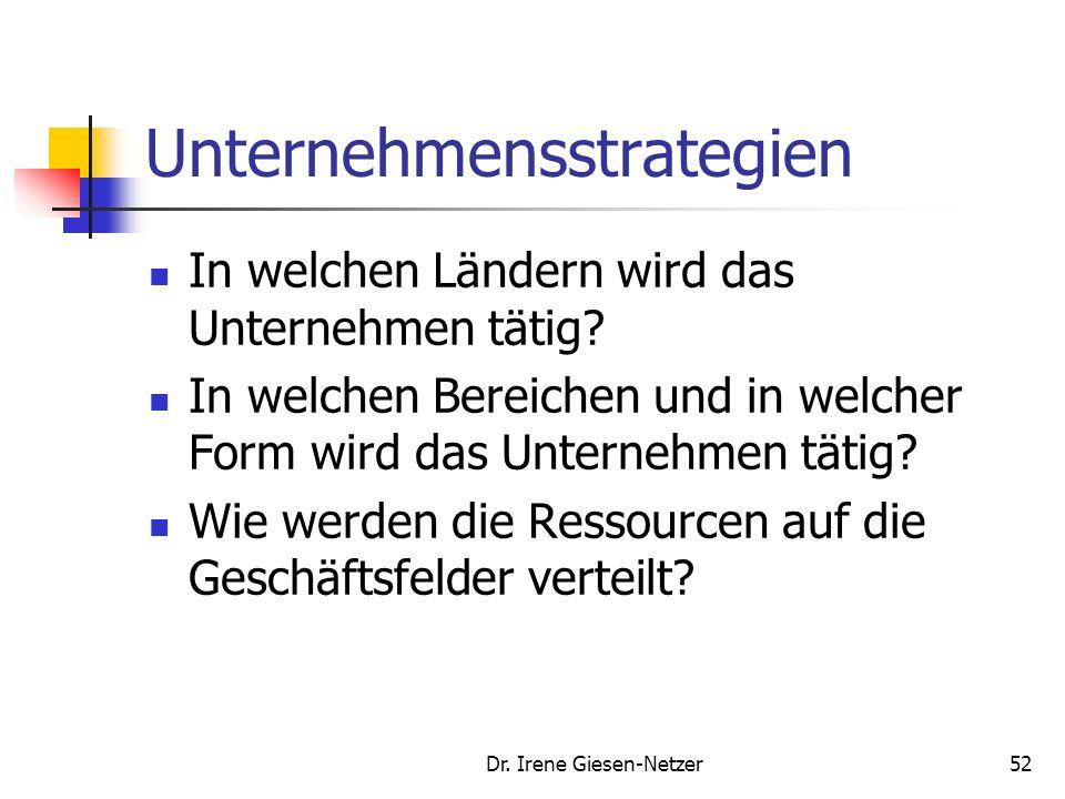 Dr. Irene Giesen-Netzer51 Definition von Unternehmensstrategie Unternehmensstrategien sind bedingte, langfristige und globale Verhaltenspläne zur Erre