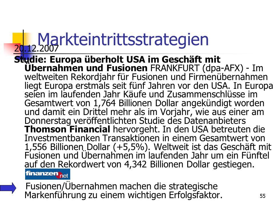 Dr. Irene Giesen-Netzer54 Beispielhafte Markteintrittsstrategien Eigenständiger Aufbau neuer Marken bzw. Gründung von Tochtergesellschaften. Akquisiti