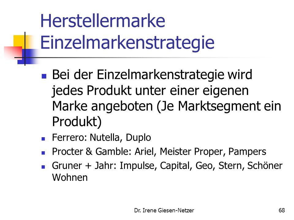 67 Abgrenzung von Markenstrategien Hersteller- marken Premium- Marken Eigen- Marken Gattungs- marken Handelsmarken Einzel- marken strategie Mehr- mark