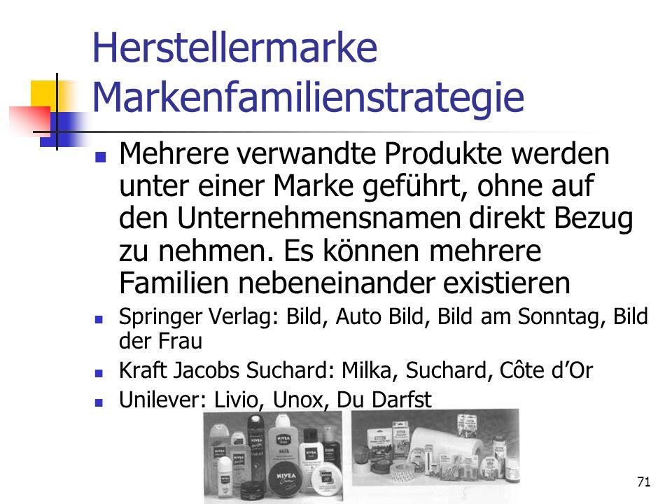 70 Vergleich Einzel- und Mehrmarke Quelle: Meffert, H., Burmann, Ch., Koers, M., Markenmanagement