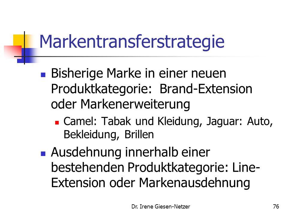 Dr. Irene Giesen-Netzer75 Markentransferstrategie (imagemäßige) Einheit: hohe Übereinstimmung von sachbezogenen (Denotationen) und emotionalen, anmutu