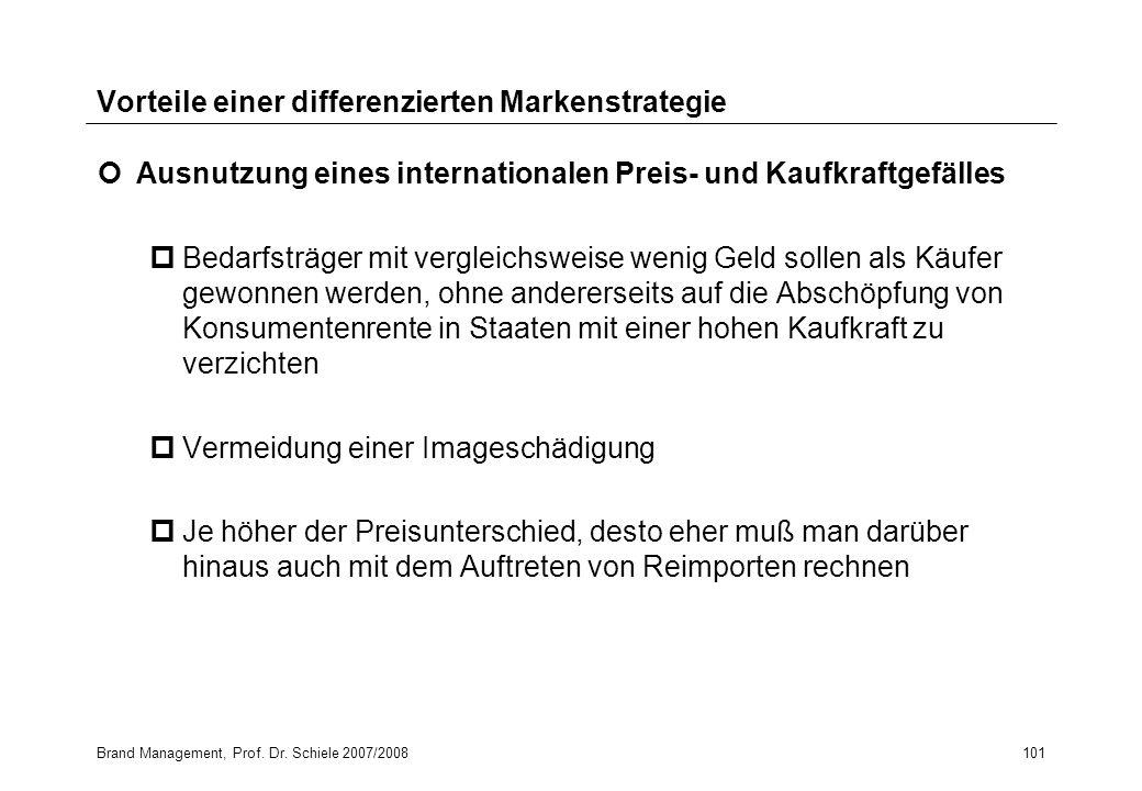 Brand Management, Prof. Dr. Schiele 2007/2008101 Vorteile einer differenzierten Markenstrategie Ausnutzung eines internationalen Preis- und Kaufkraftg