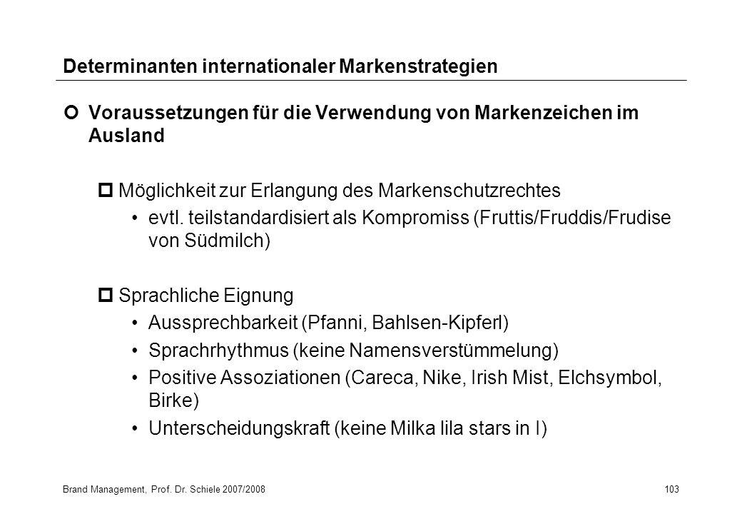 Brand Management, Prof. Dr. Schiele 2007/2008103 Determinanten internationaler Markenstrategien Voraussetzungen für die Verwendung von Markenzeichen i