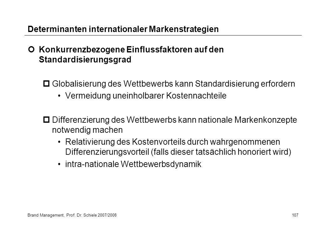 Brand Management, Prof. Dr. Schiele 2007/2008107 Determinanten internationaler Markenstrategien Konkurrenzbezogene Einflussfaktoren auf den Standardis