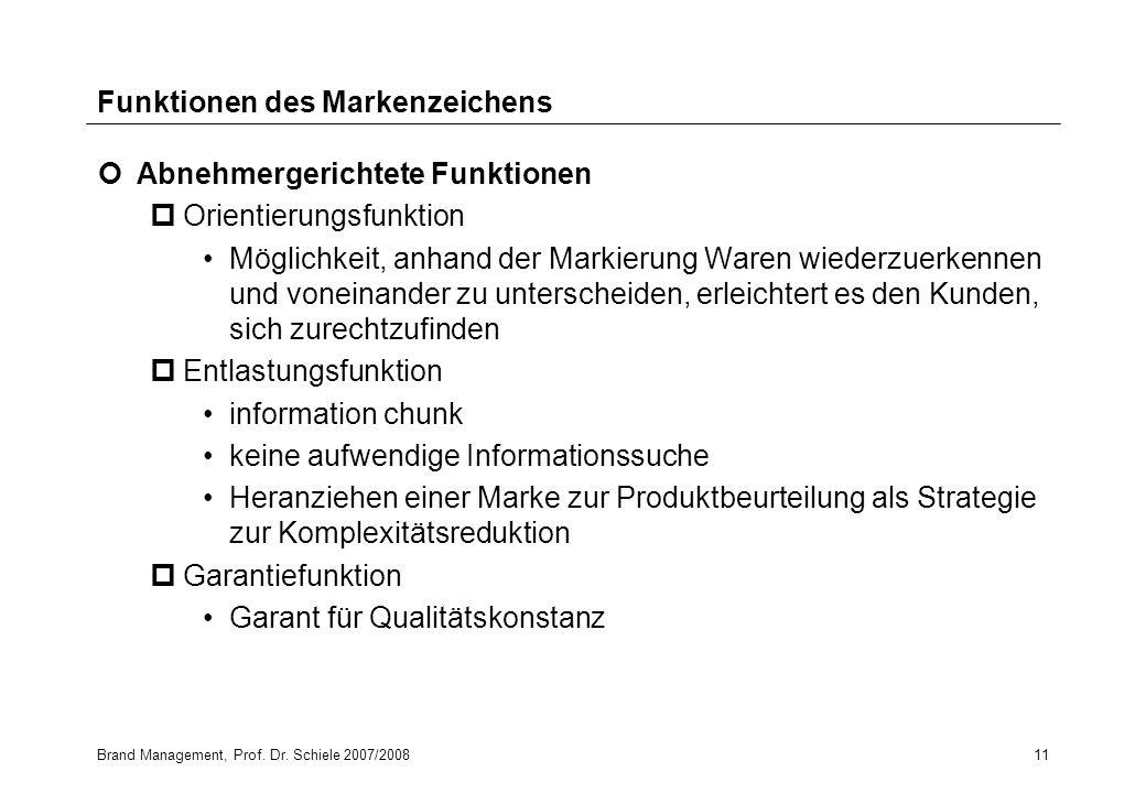 Brand Management, Prof. Dr. Schiele 2007/200811 Funktionen des Markenzeichens Abnehmergerichtete Funktionen pOrientierungsfunktion Möglichkeit, anhand