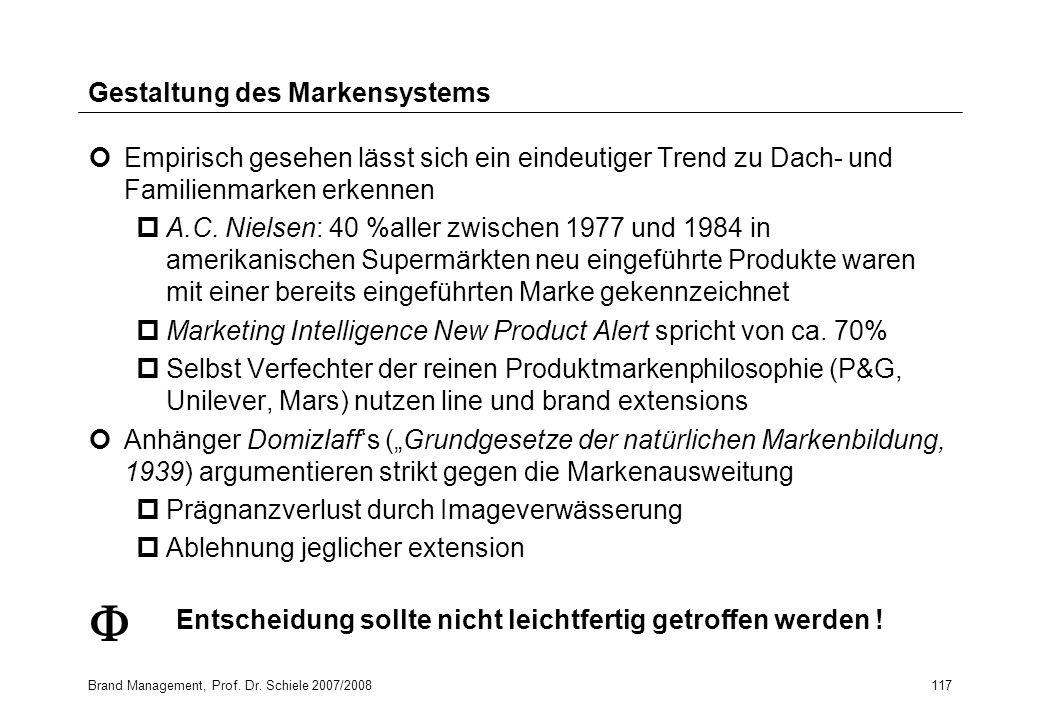 Brand Management, Prof. Dr. Schiele 2007/2008117 Gestaltung des Markensystems Empirisch gesehen lässt sich ein eindeutiger Trend zu Dach- und Familien