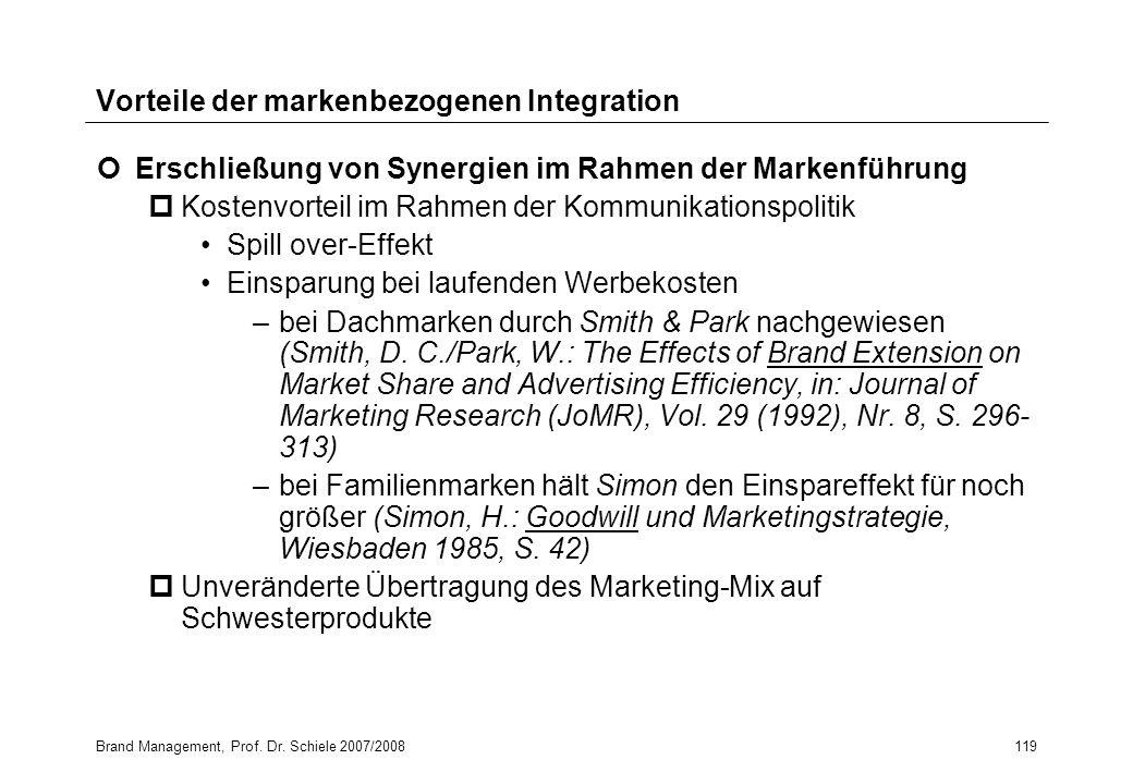 Brand Management, Prof. Dr. Schiele 2007/2008119 Vorteile der markenbezogenen Integration Erschließung von Synergien im Rahmen der Markenführung pKost