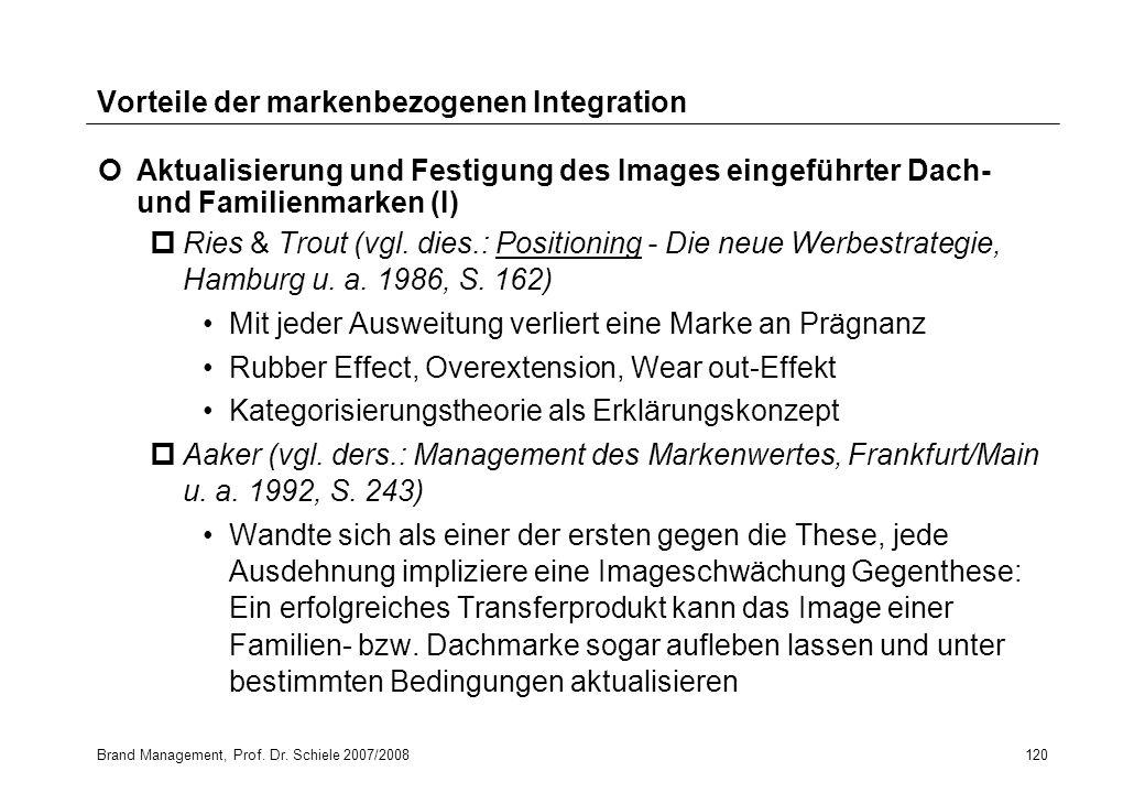 Brand Management, Prof. Dr. Schiele 2007/2008120 Vorteile der markenbezogenen Integration Aktualisierung und Festigung des Images eingeführter Dach- u