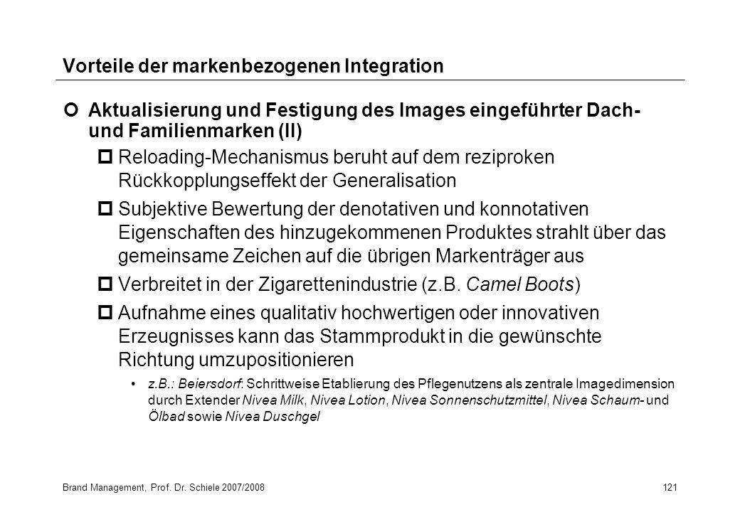 Brand Management, Prof. Dr. Schiele 2007/2008121 Vorteile der markenbezogenen Integration Aktualisierung und Festigung des Images eingeführter Dach- u
