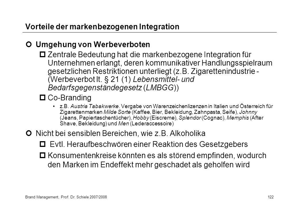 Brand Management, Prof. Dr. Schiele 2007/2008122 Vorteile der markenbezogenen Integration Umgehung von Werbeverboten pZentrale Bedeutung hat die marke