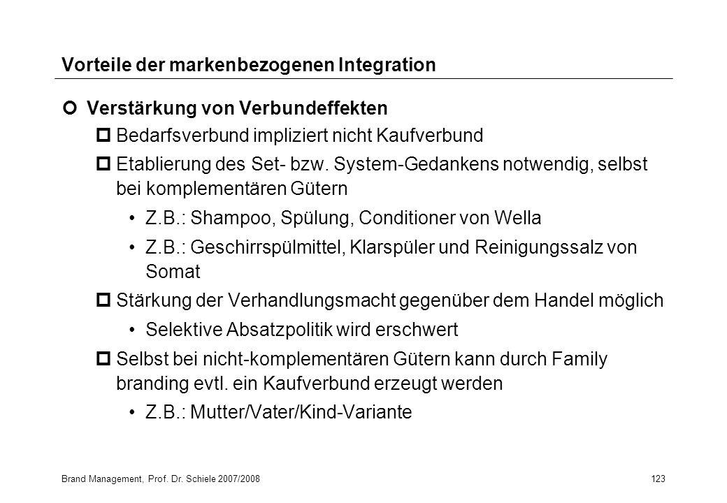 Brand Management, Prof. Dr. Schiele 2007/2008123 Vorteile der markenbezogenen Integration Verstärkung von Verbundeffekten pBedarfsverbund impliziert n