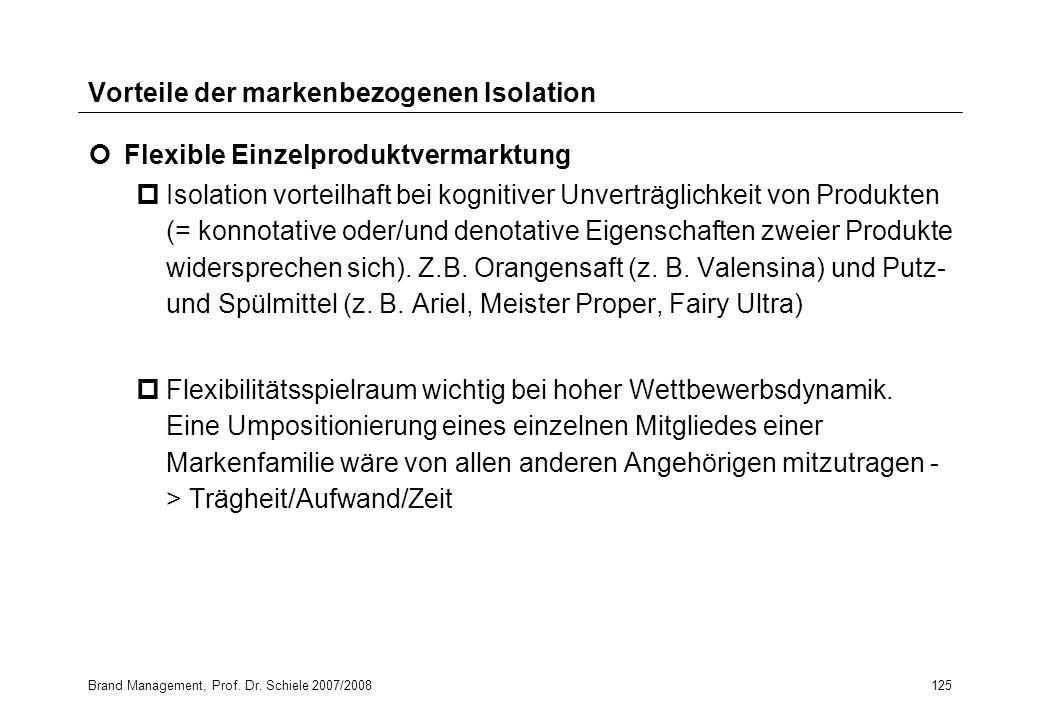 Brand Management, Prof. Dr. Schiele 2007/2008125 Vorteile der markenbezogenen Isolation Flexible Einzelproduktvermarktung pIsolation vorteilhaft bei k