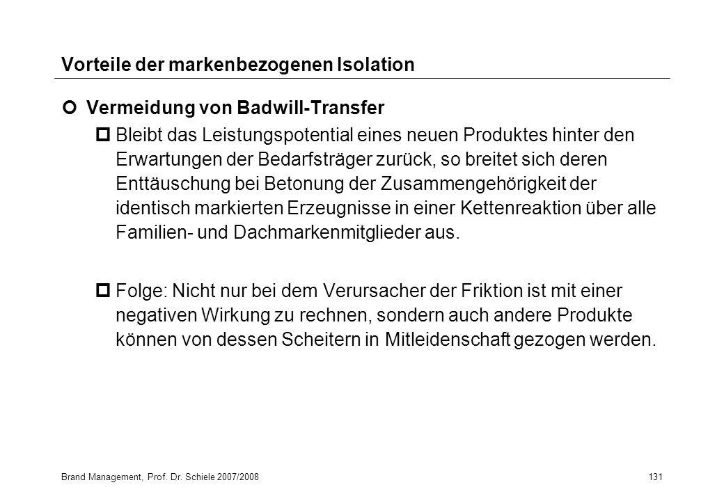 Brand Management, Prof. Dr. Schiele 2007/2008131 Vorteile der markenbezogenen Isolation Vermeidung von Badwill-Transfer pBleibt das Leistungspotential