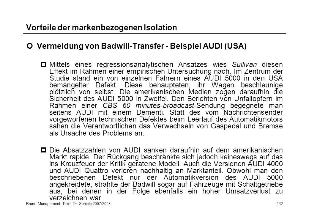 Brand Management, Prof. Dr. Schiele 2007/2008132 Vorteile der markenbezogenen Isolation Vermeidung von Badwill-Transfer - Beispiel AUDI (USA) pMittels