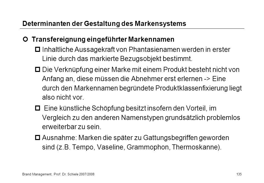 Brand Management, Prof. Dr. Schiele 2007/2008135 Determinanten der Gestaltung des Markensystems Transfereignung eingeführter Markennamen pInhaltliche